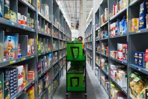 Working putting together orders in Amazon Fresh Warehouse