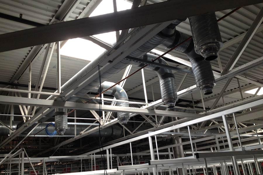 Aramark Laundry HVAC system on ceiling