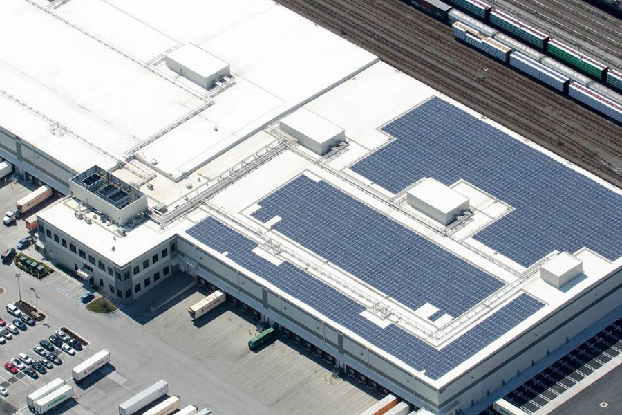 MTC Logistics building exterior drone view